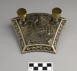 Candleholder for bas mitzvah; brass, 6