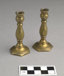 Candlesticks, miniature (1 pair); brass, 2.75