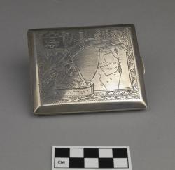 Cigarette case; sterling silver, 3.5