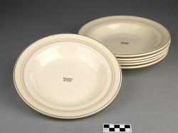 Soup plates (6) from the Queen Mary (ocean liner); ceramic, marked on back for the Cunard Company, and Maddock