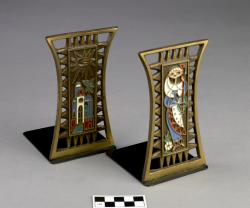 Bookends;2 pieces, brass, decorated with enamel work