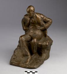 Sculpture; statue of Freud, brass