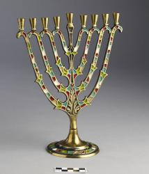 Menorah; decorated with enameled paint
