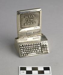 Besamim container (spice box); silver; shaped like a computer with Hebrew on screen; said to be from Russia