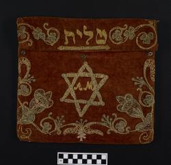 Tefillin or Tallit bag; rust velvet, 11