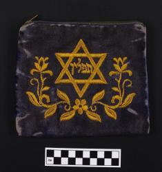 Tefillin bag; blue velvet, 7.25