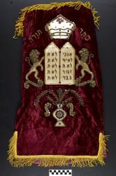 Torah cover; burgundy velvet, 16