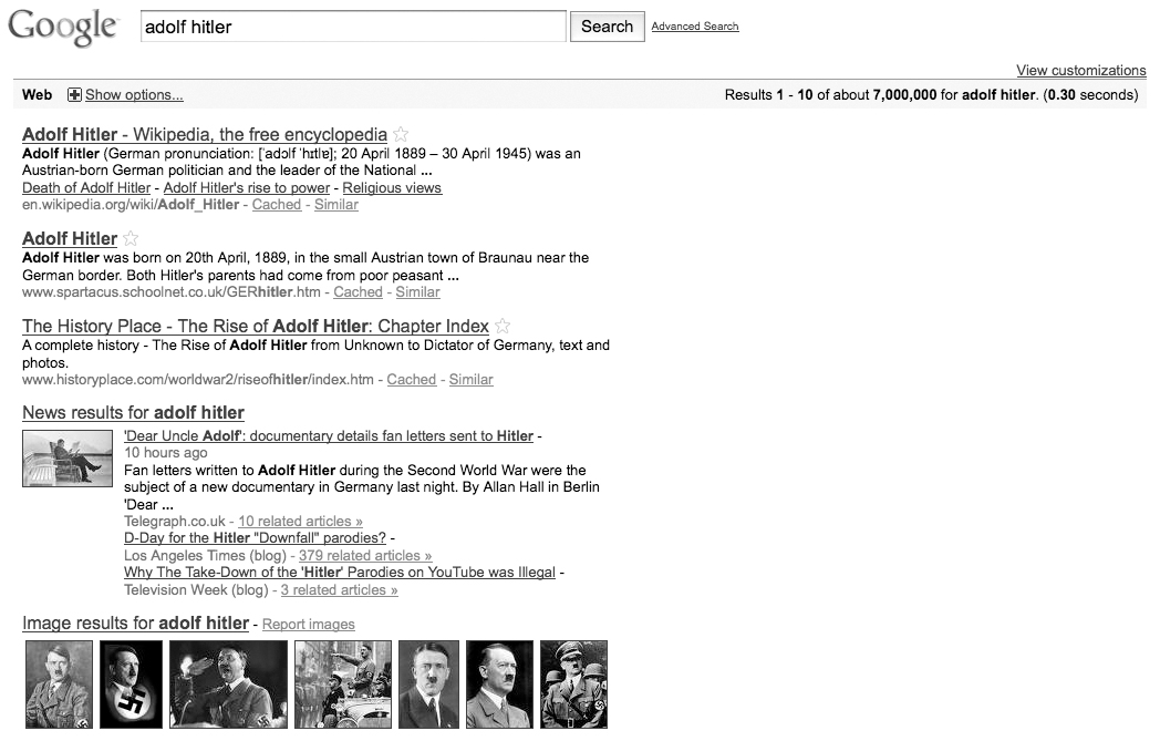 "Fig. 2. Screenshot of the first page of Google search results for ""Adolf Hitler"" on April 26, 2010 (First Half )."
