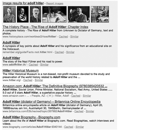 "Fig. 3. Screenshot of the first page of Google search results for ""Adolf Hitler"" on April 26, 2010 (Second Half )."