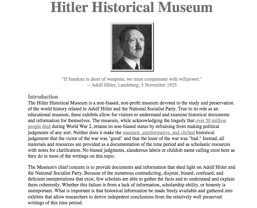 Fig. 4. Screenshot of the Adolf Hitler Historical Museum (http://www.hitler.org) on May 3, 2010.