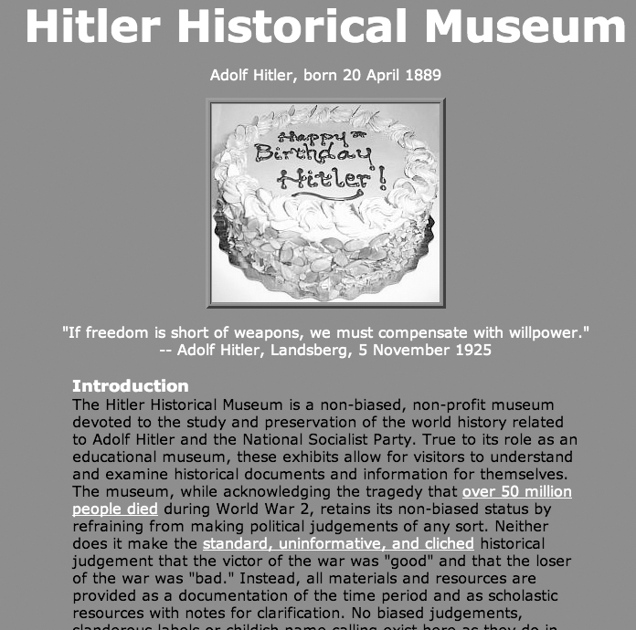Fig. 6. Screenshot of an earlier version of the Adolf Hitler Historical Museum, April 20, 2011. Courtesy of the Internet Archive.