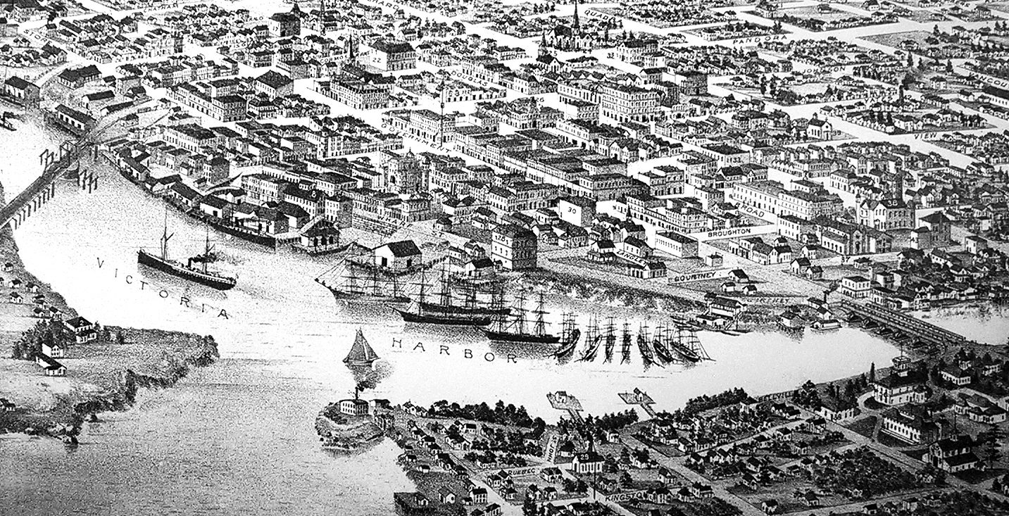 Fig 14.2: Detail of 1889 bird's-eye view of Victoria, British Columbia. Courtesy of Library of Congress Geography and Map Division, catalog number 75696734; digital ID g3514v pm010770.