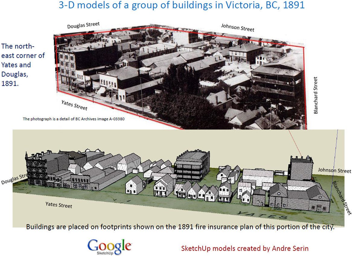Fig 14.5: A panoramic photograph and SketchUp model of Victoria, British Columbia, 1891. Image courtesy of the authors.
