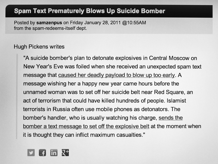 "Fig. 2. Slashdot's post about the black widow suicide bomber. (samzenpus, ""Spam Text Prematurely Blows Up Suicide Bomber—Slashdot,"" 28 Jan. 2011, accessed March 17, 2014, http://beta.slashdot.org/story/146936.)"