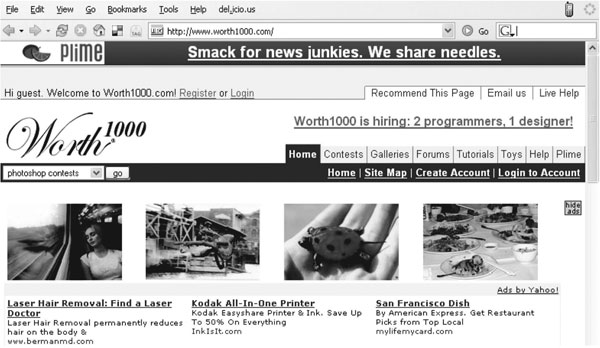 Fig. 1.: Example of ad links presented in a confusing manner at www.worth1000.com (2007)