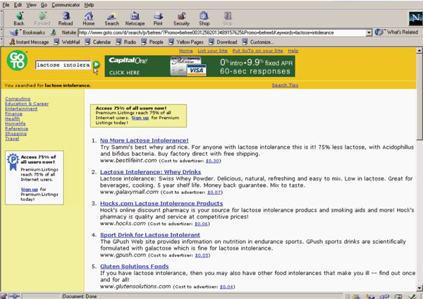 Fig. 2.: Screen shot of a Goto.com search engine results page (2001)