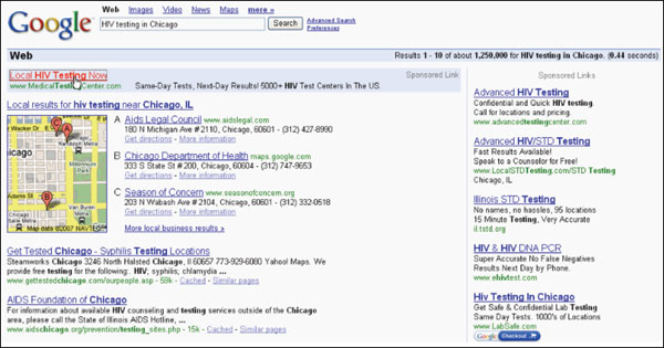 Fig. 3.: Screen shot of a study participant's selection of a sponsored link result (2007)