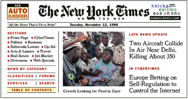 Fig. 1.: Early NYTimes.com home page showing CyberTimes feature
