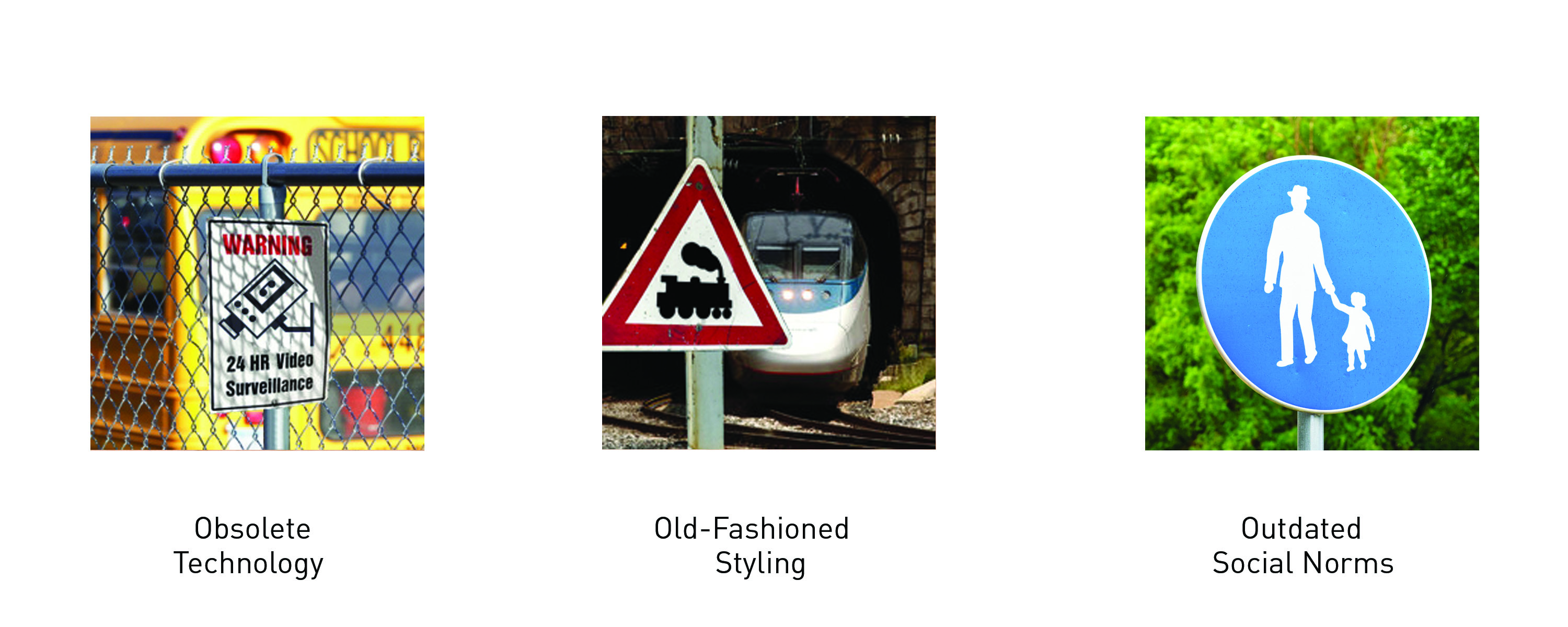 Figure 1.: Obsolescence of Styling: Iconographic visual signage is made obsolescent  as technology and styles change, and social norms become outdated. Source: Dobson, T. 2016.