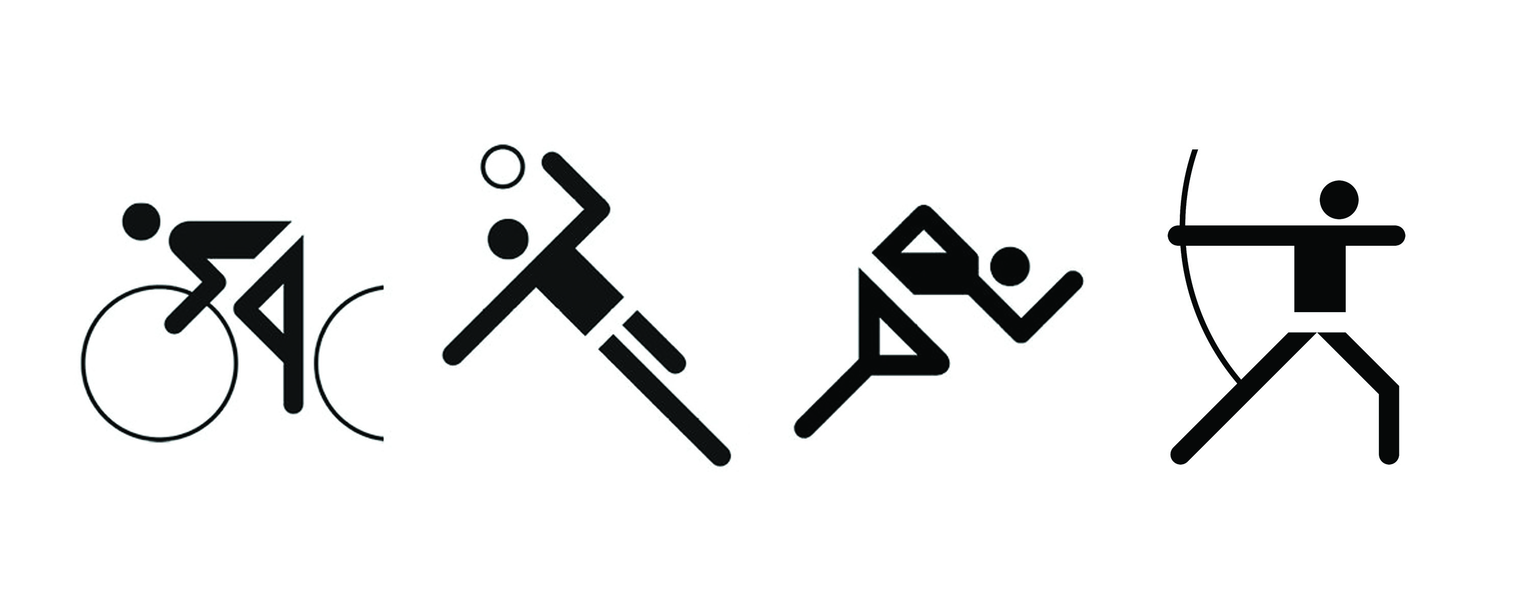 Figure 12.: Aicher's anonymous figures representing the athletes who competed in the 1972 Olympic Games in Munich were supposed to be inclusive of everyone. Even though his geometric body alphabet represents sports played by both genders, why is it that viewers ONLY see male competitors, rather than women athletes? http://www.aicher-pictograms.com (accessed May 25, 2016).