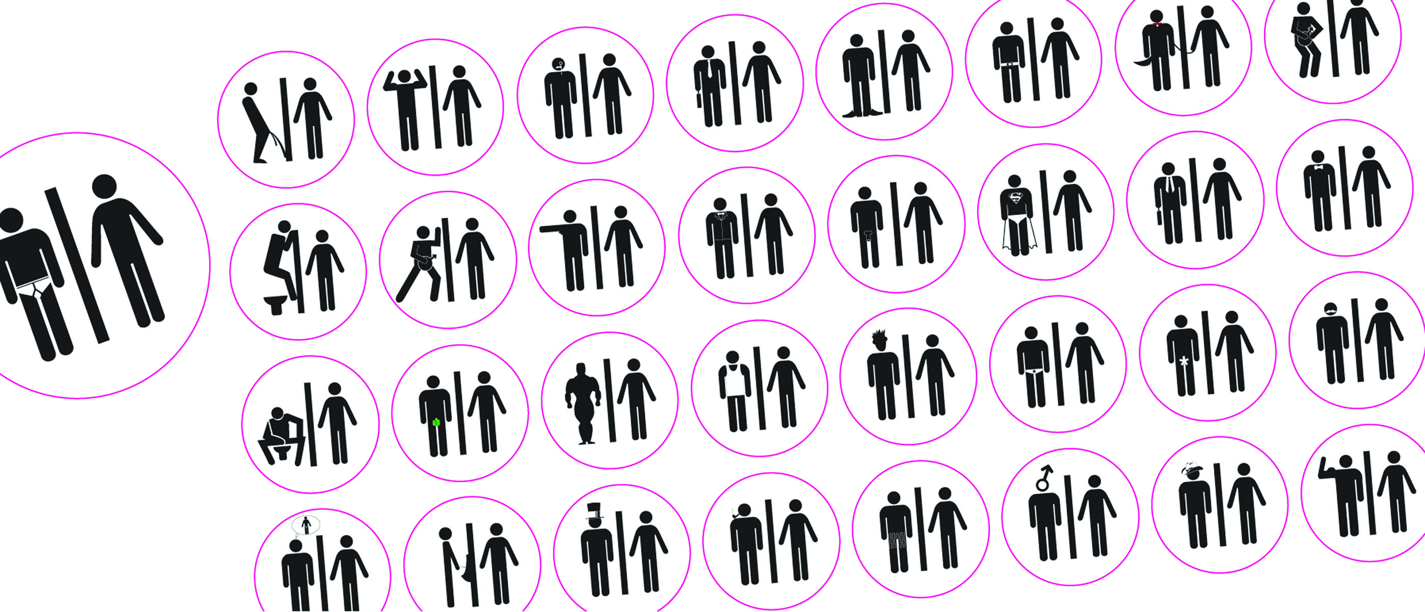 Figure 14.: 'Gender Agenda 1': Challenging Discriminatory Conventions. This Loyola Marymount University undergraduate social design project was intended to challenge students to graphically differentiate between genders without using the stylized reference of a skirt. It became an experiment in how gender role-reversal could be effectively depicted in restroom signage. Source: Dobson, T. 2016.