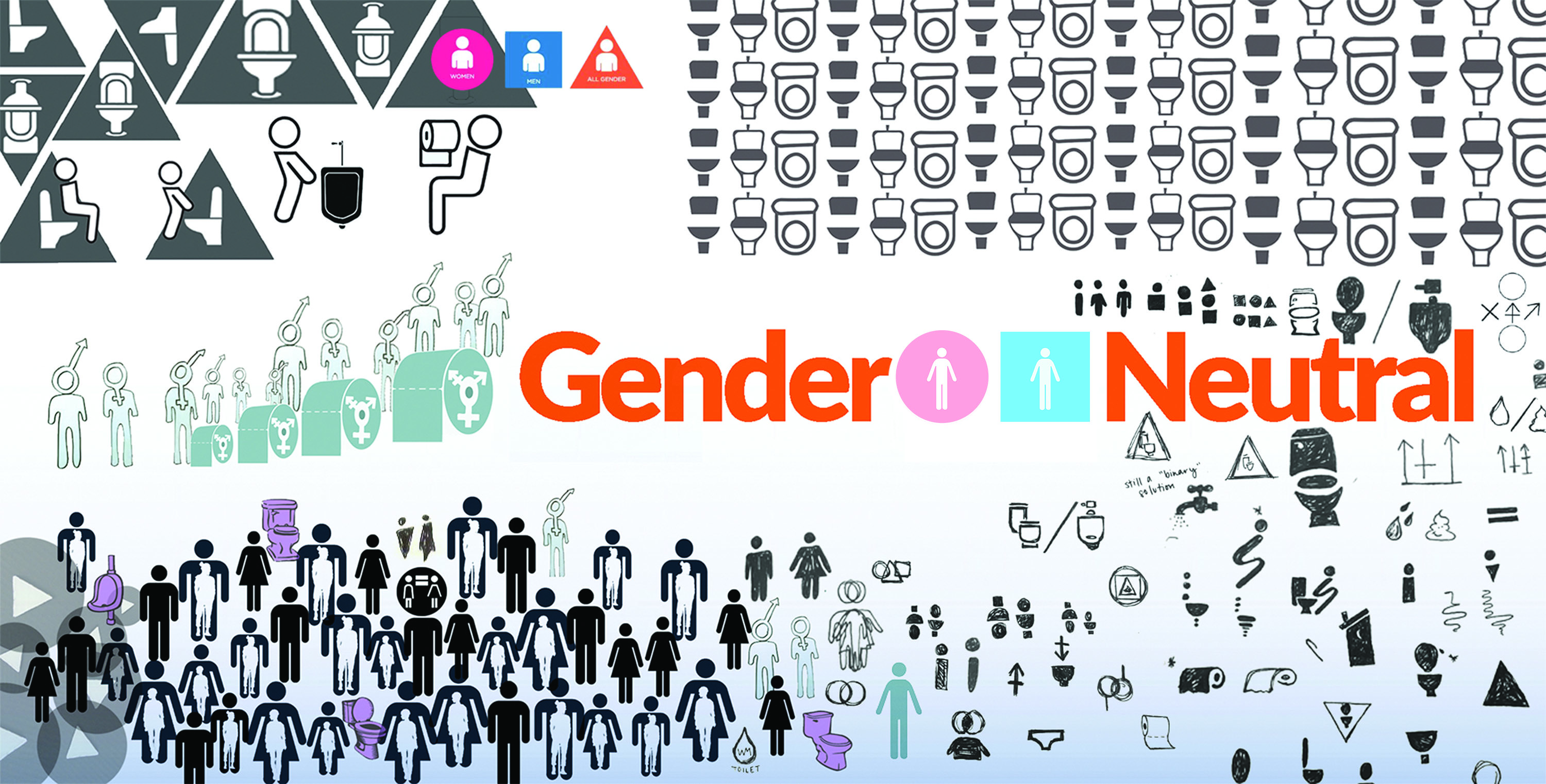 Figure 15.: O'Gender Agenda 2': Gender Neutral. This Loyola Marymount University & Azusa Pacific University undergraduate social design project challenged students to engage in sketch explorations as a means to reimagine transgendered restroom signage. Source: Dobson, T. & Dobson, S.C. & Kirkpatrick, G. 2016.