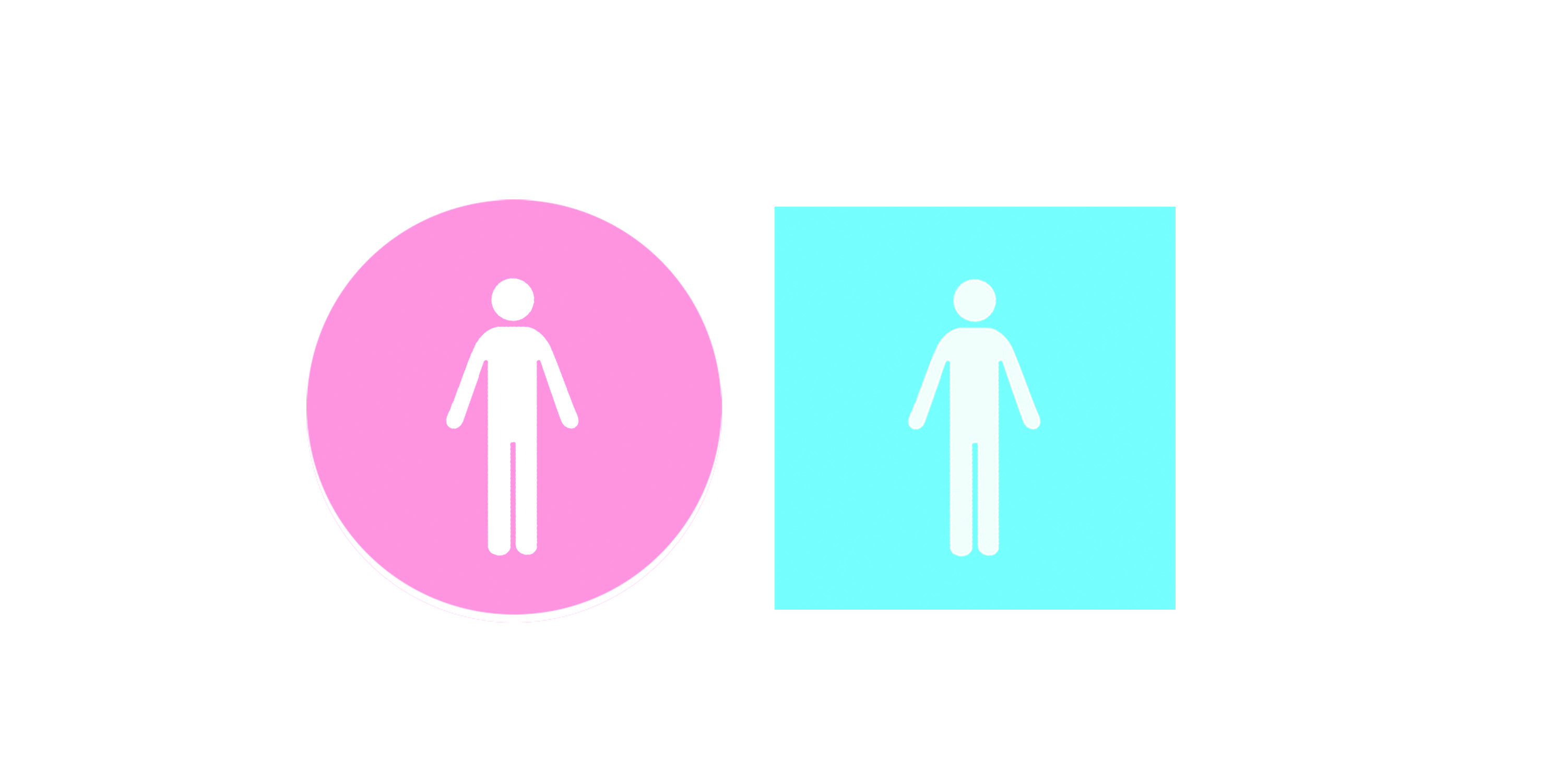 Figure 16.: Gender-friendly, Socially Symbolic, Indexical Restroom Signage Figures. By replacing the anticipated gender-marked restroom icons with a gender-neutral figure, our pre-conditioned tendency to automatically delineate between male and female is instead rewarded with the discovery that both figures are the same. Subverting the expectation for gender-marking becomes a socially symbolic act in gender neutrality. Source: Dobson, T. 2016.