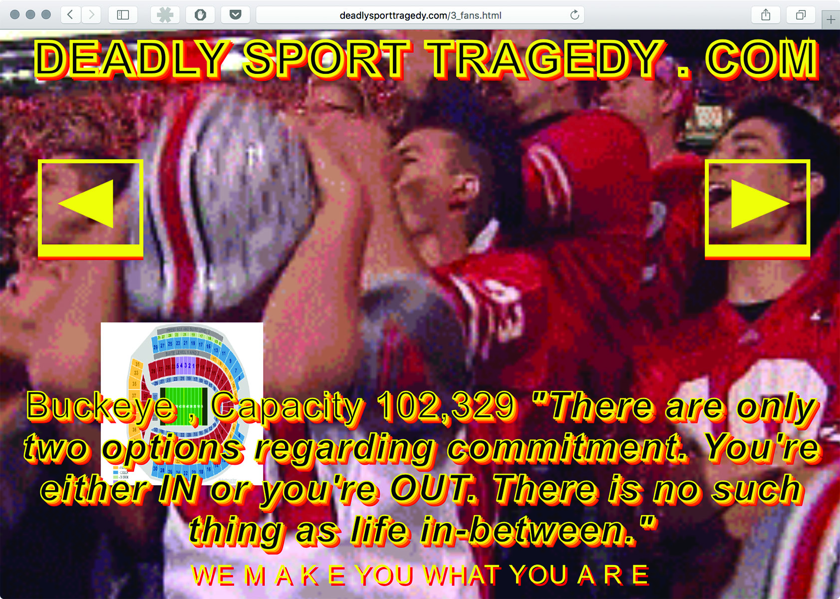 "Figure 1.: Deadly Sports Tragedy (deadlysportstragedy.com) fits the profile of a Brutalist website. According to its designer, Ben Patterson, the site ""capture[s] the intensity and coarseness of professional sports broadcasts."""