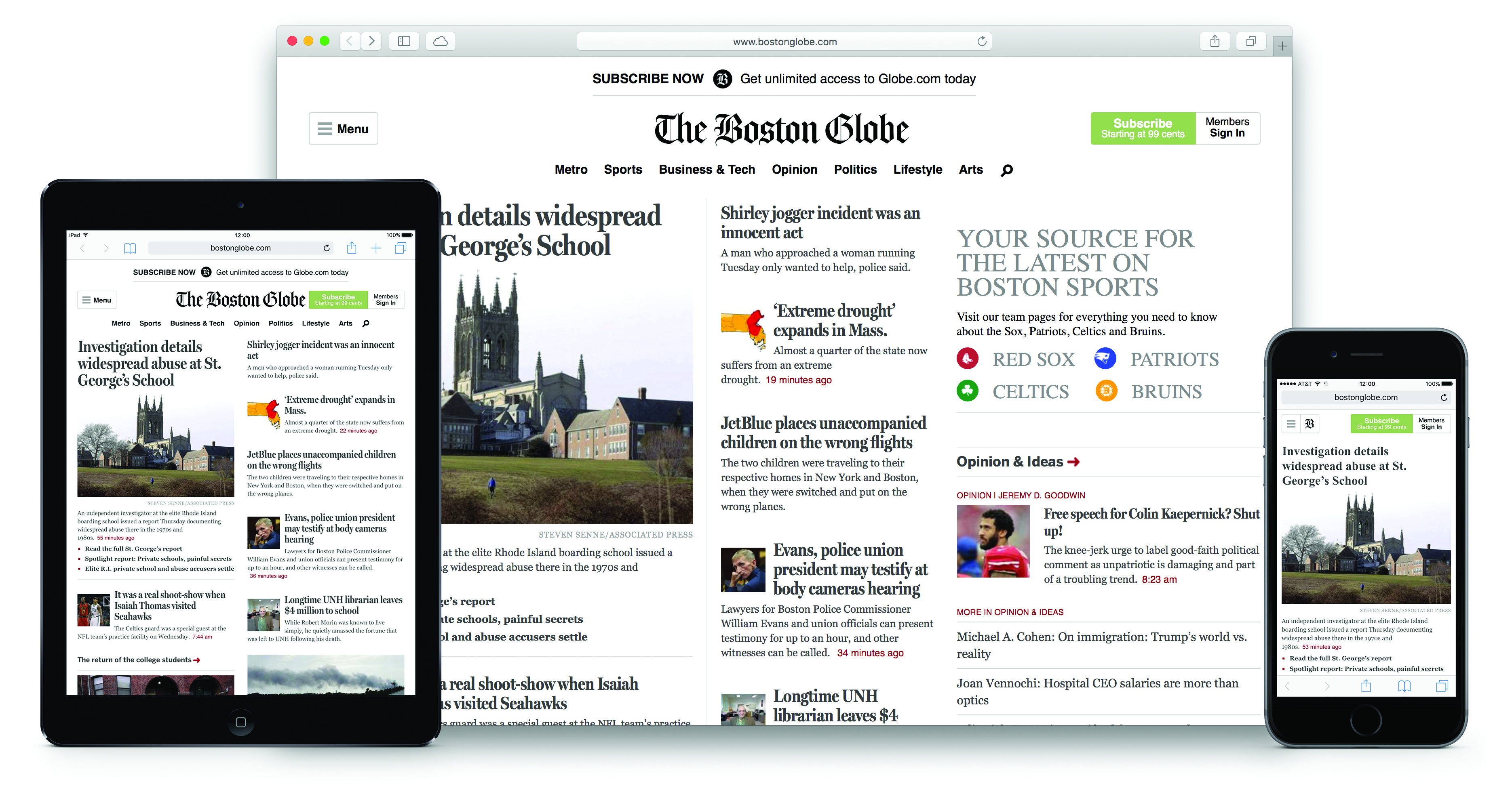 Figure 4.: BostonGlobe.com was one of the first large-scale responsive websites, in 2011.