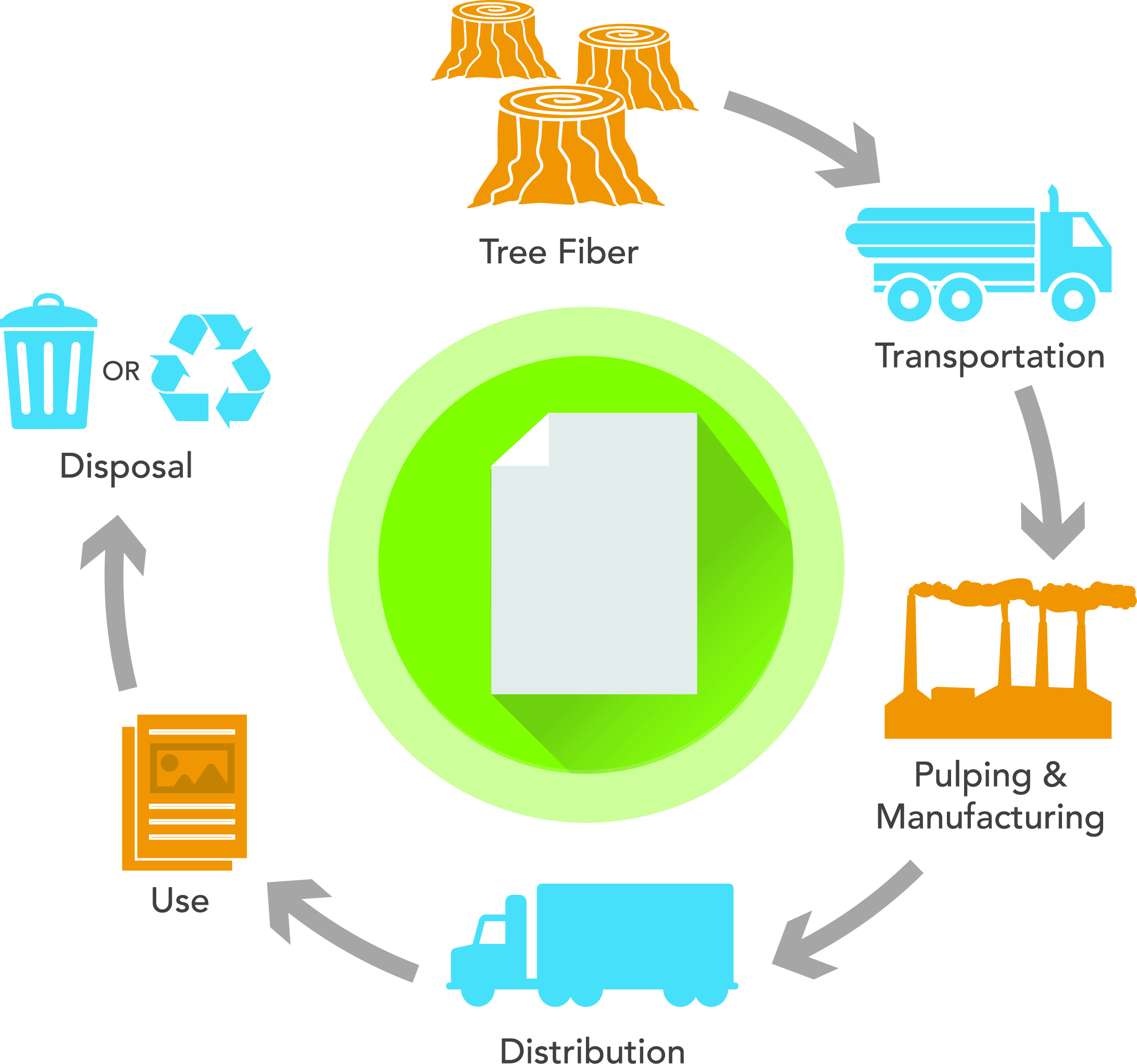 Figure 3: A graphically simplified depiction of the paper supply-to-disposal chain as it is currently operated in many of the industrialized nations in the world, such as the U.S., China, the U.K., Germany, France, Russia and India.