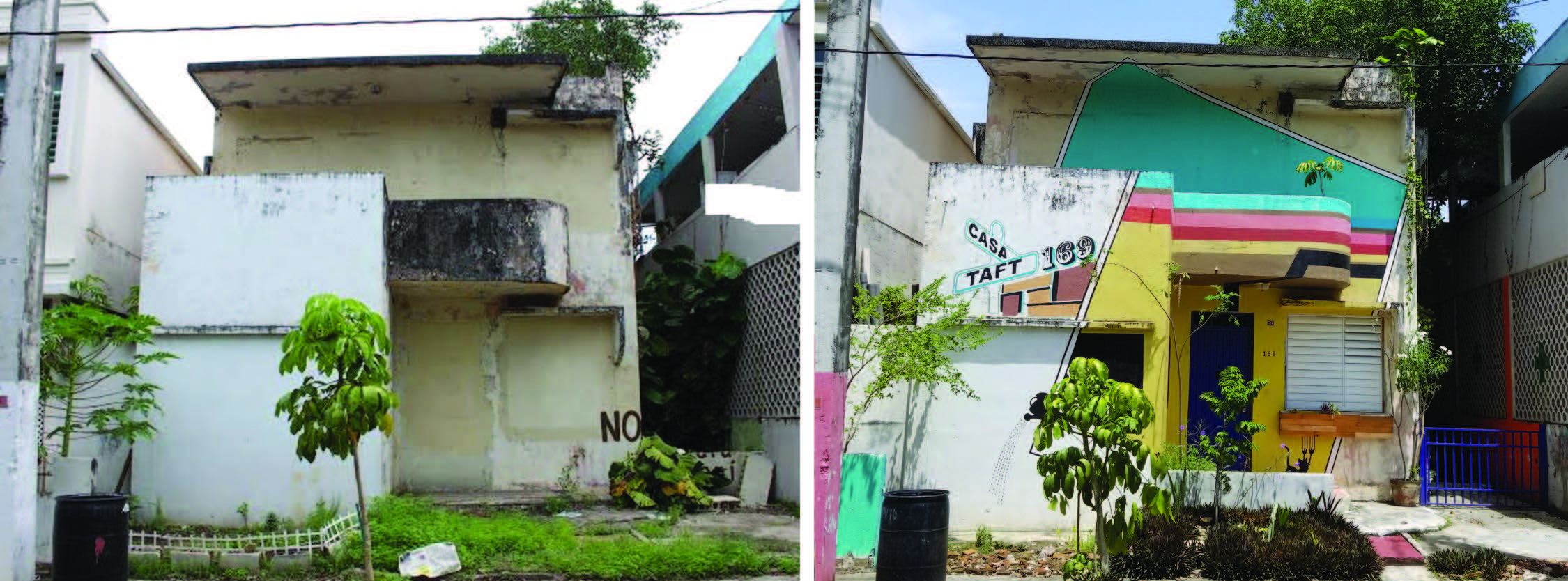Figure 4: The structure Casa Taft 169 before and after its renovation (completed in 2015-16). This photo shows the façade of Casa Taft 169 before the main door to the property, which had been boarded up, was reopened. After decades of complaints by neighbors, the process of declaring the property a public nuisance was begun in 2004, and the structure was totally sealed. (Photo provided by Casa Taft 169.)