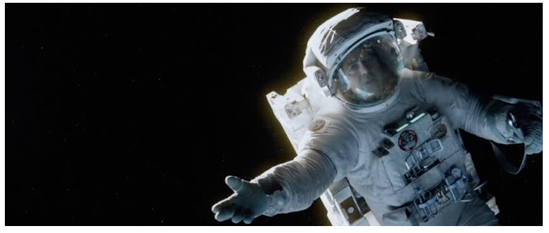 Figure 1. George Clooney's Matt Kowalski drifts to his death in Gravity.