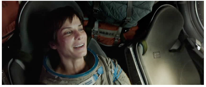 Figure 2. Kowalski's death leaves Ryan (Sandra Bullock) to save herself in Gravity.