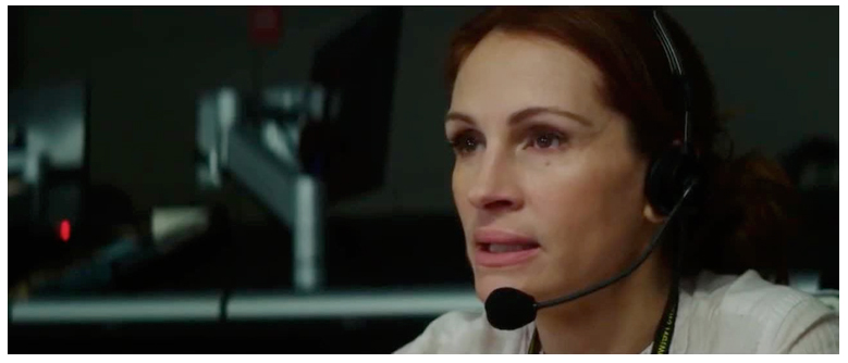 Figure 4. Clooney's character is rescued by a woman, his director Patty Fenn (Julia Roberts) in Money Monster.