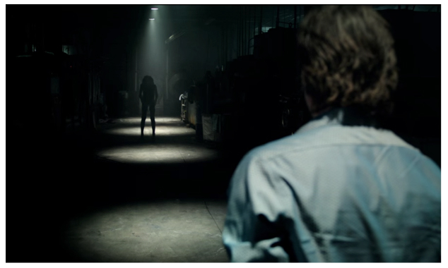Fig. 1: At the opening of Lights Out, Paul confronts Diana across circular pools of light that mute the film's colors.