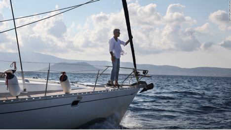 Figure 4.: Odysseus was here: Bourdain sailing off the Greek island of Naxos