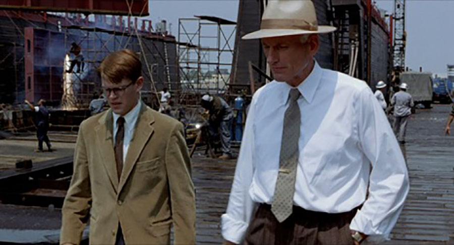 Figure 2. Tom and Mr. Greenleaf at the shipping yard.