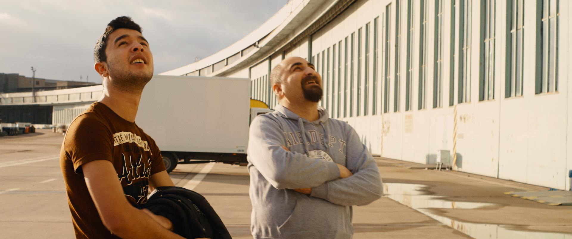 Figure 4: Ibrahim and Qutaiba feel a sense of home at Tempelhof airfield in Karim Aïnouz' Central Airport THF.