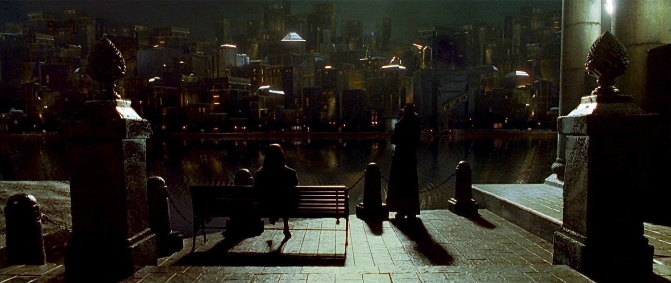 Figure 1. The femme fatale waits by the river in Dark City.