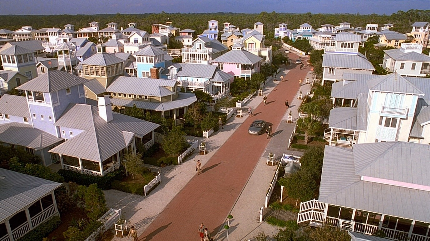 Figure 2. Pastel colored suburbia in The Truman Show.