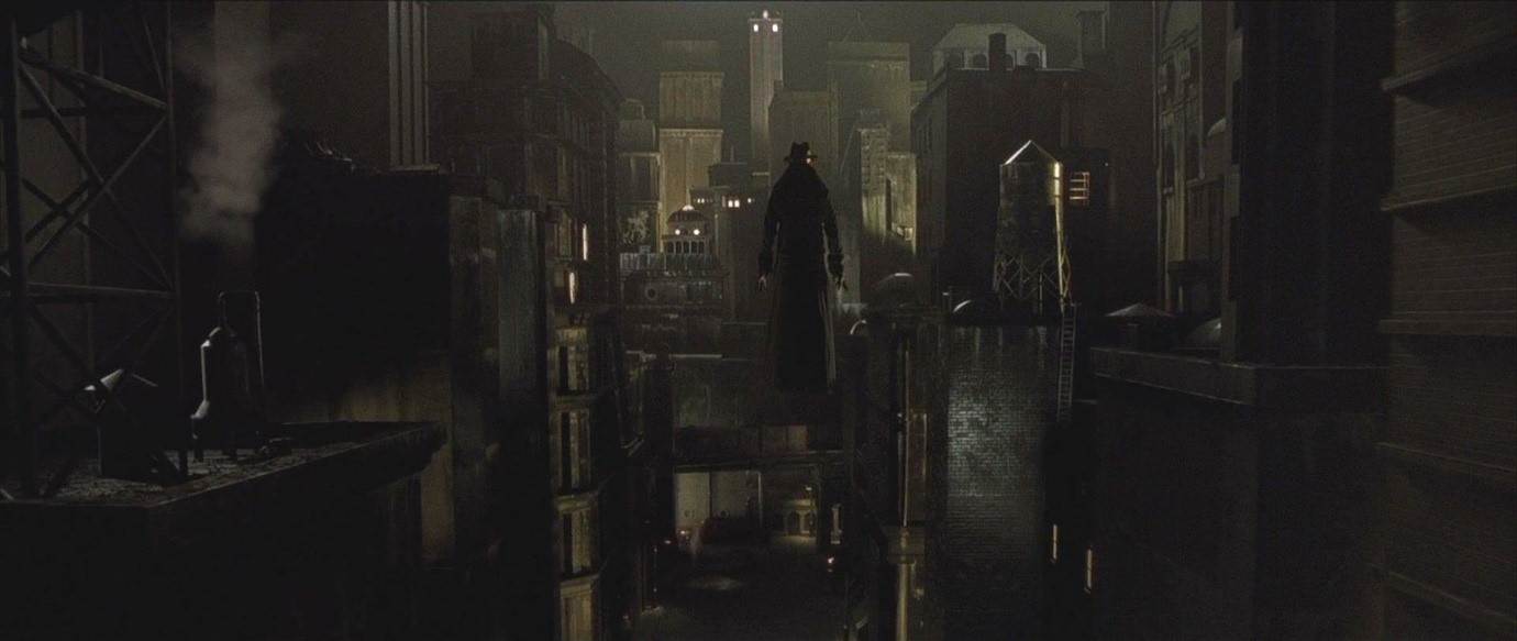 Figure 9. One of the Strangers floats above the tenements in Dark City.