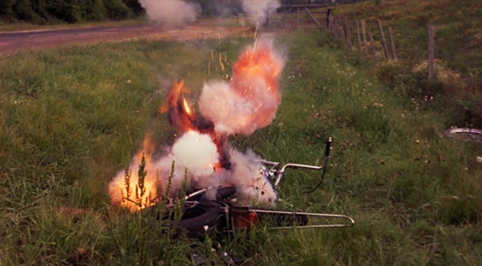 Figure 5: Captain America's burning Chopper at the end of Easy Rider.