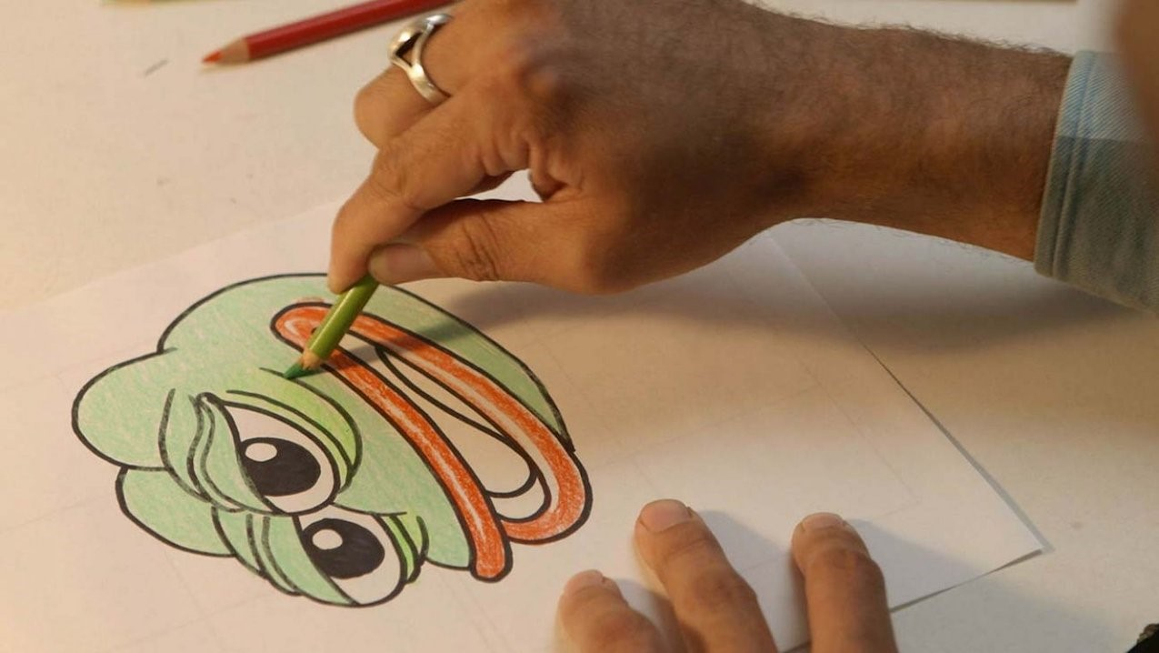 Figure 1: Drawing Pepe the Frog in Arthur Jones's Feels Good Man (2020). Produced by Museum & Crane, Wavelength Productions, and XTR.