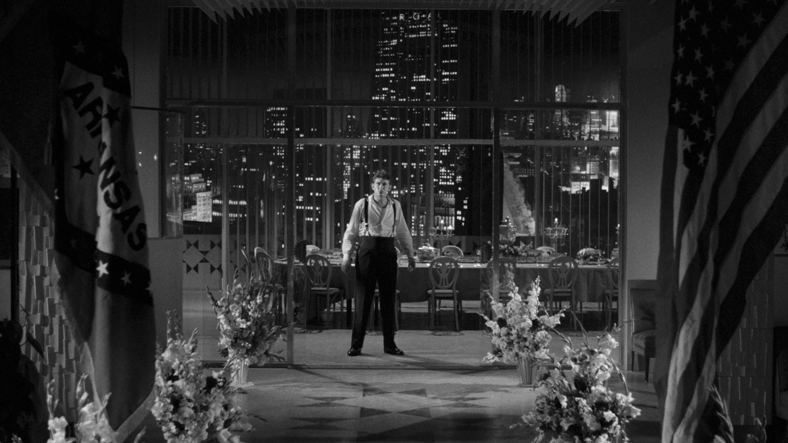 "Figure 6: Rhodes's last stand: ""betrayed"" by Marcia (and his public), Rhodes is confronted by Mel Miller (his POV) in his penthouse apartment."