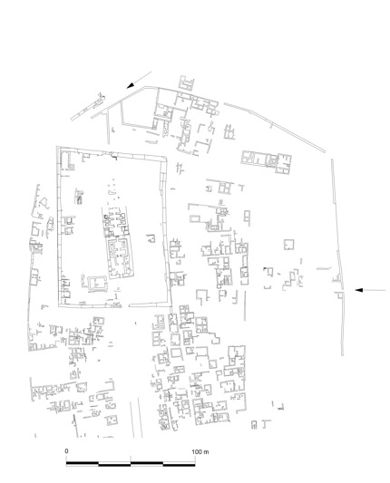Fig. 2:: Plan of the buildings and structures in the north sector of the site.