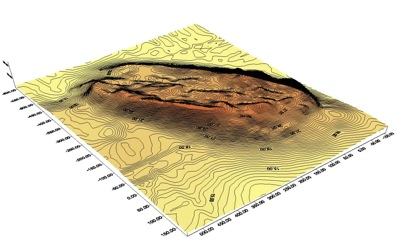 Fig. 3:: 3D model of the kom from northeast.