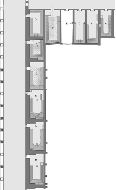Fig. 3:: Auditoria complex, southern part. (Drawing A. Pisarzewski)
