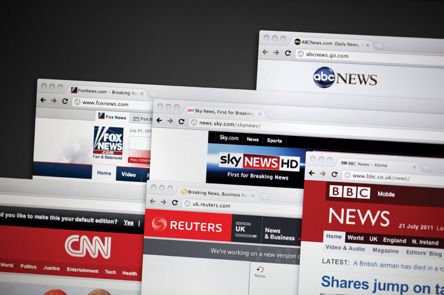 Figure 2.: London, United Kingdom - July 21, 2011: World news websites, including BBC, Reuters, CNN, FOX, abc and Sky.