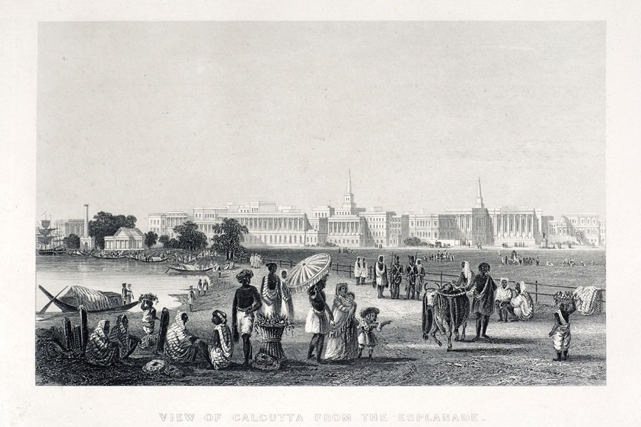Figure 1.: An 1858 engraving showing Calcutta from the esplanade. British troops and a lady with her children can be seen mixing with Indians. Engraver unknown. Photo by D. Walker.