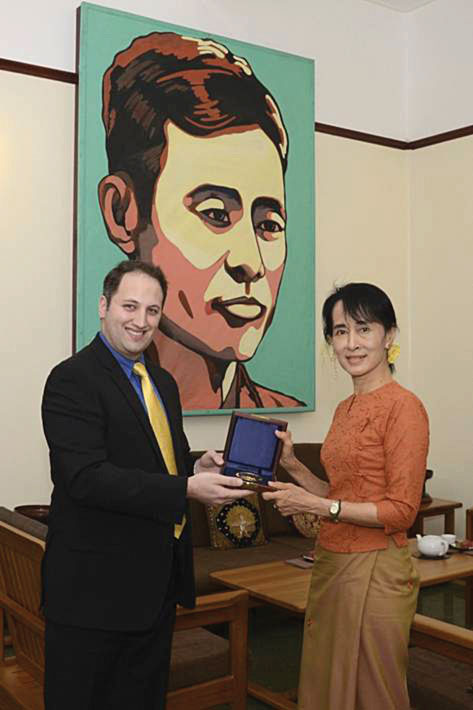 Figure 3.: The author with Aung San Suu Kyi, who was awarded the 21st Raoul Wallenberg Medal in absentia for her non-violent struggle on behalf of democracy and human rights in Myanmar..